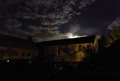 Combe Mill in moonlight